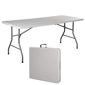 Mirtux - Mesa Plegable Grande fácil de Transportar. Ideal para Camping, jardín, Picnic, Cocina, terraza. Muy Resistente al Peso ya la Temperatura. ...