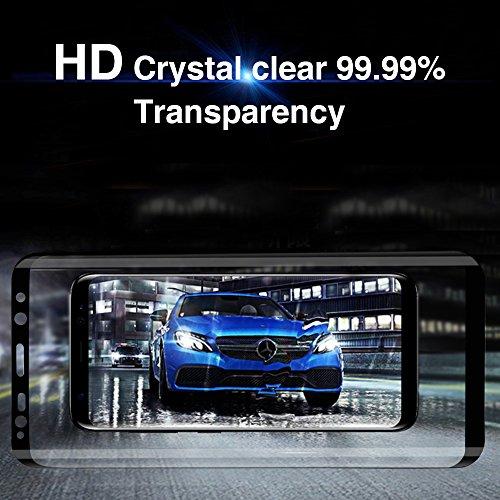 3D Protector de Cristal templado para Samsung Galaxy s8,Protector de Pantalla de Vidrio Templado,9H Dureza,Cubre Completa,Resistente a Golpes ,Arañazos,Alta Definición,Tacto Sensible(Negro)