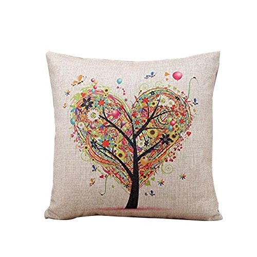 Price comparison product image FAPIZI  Pillow Case  Heart-shaped tree Square Throw Flax Pillow Cover