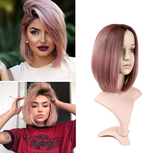 Hairphocas Short Straight Bob Wigs Ombre Dark Rose Blonde Shoulder Length Bob Style Haircut Wig Middle Part Wig for women