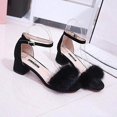 Yalanshop épais avec loquet de sandales Sandales d'épaisseur avec lapin Cheveux Chaussures en peluche Sandales, comme Dew-toe Sandales femme Chaussures, Noir, 35