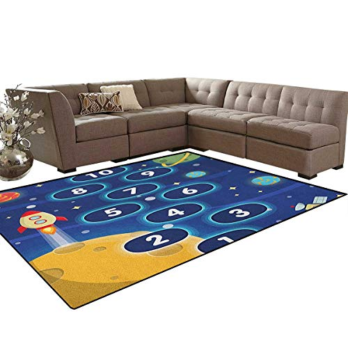 Rug Primary Hopscotch (Kids Activity,Floor Mat,Children Activity Hopscotch Game in Space Science Fiction Themed Cartoon,Soft Area Rugs,Multicolor Size:6'6