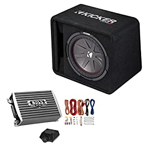 Kicker 12 Inch 1000W Subwoofer Box + 1500W Mono Amplifier w/Remote & Wiring Kit