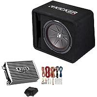 Kicker 12 Inch 1000W Subwoofer Box + 1500W Mono Amplifier w/ Remote & Wiring Kit