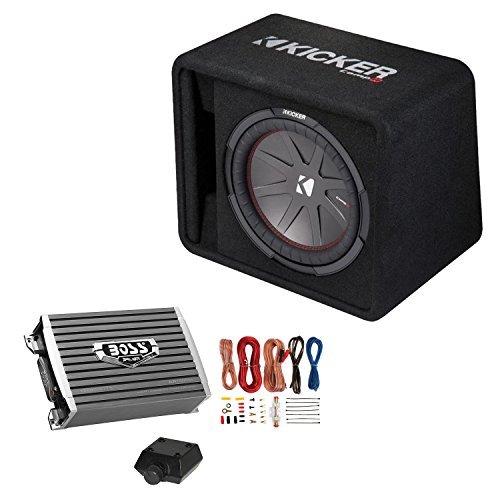 Kicker 12 Inch 1000W Subwoofer Box + 1500W Mono Amplifier w/Remote & Wiring Kit - Kicker Sub Stereo Audio Amp