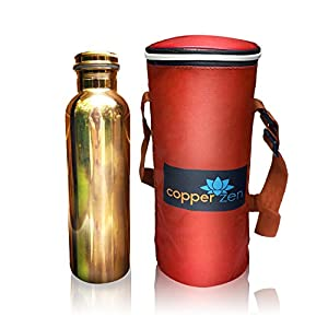 CopperZen Copper Water Bottle with Insulated Travel Bag and Adjustable Strap - Red