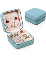 Lukovee Organizador de joyas, Portátil pequeño Faux cuero viaje joyero anillo anillo titular Caja de almacenamiento para pendientes Collar con cremallera