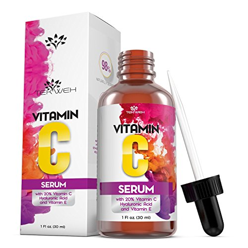 Vitamin C Serum for Younger Glowing Face and Skin - Organic Anti-Wrinkle, Anti-Aging Topical Serum, Reduces Lines, Wrinkles, Skin Discoloration, Dark Spot Remover - 20% Vitamin C & Hyaluronic Acid
