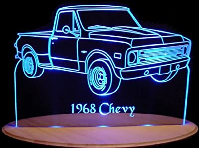 1968 Pickup Acrylic Lighted Edge Lit LED Truck Sign / Light Up Plaque 68 VVD1