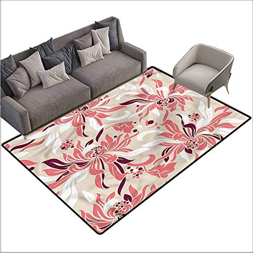 Office Chair Floor Mat Foot Pad Floral,Cute Pastel Florets 48