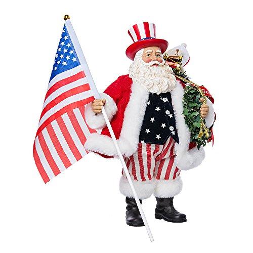 Kurt Adler Fabriché Patriotic Americana Santa