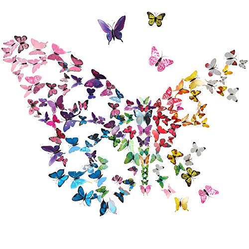 - 84pcs 3D Butterfly Stickers, Doubletwo 7 Colors Butterfly Wall Decals Wall Stickers Butterfly Wall Decoration