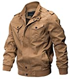 WULFUL Men's Cotton Military Jackets Casual Outdoor Coat Windbreaker Jacket Khaki S