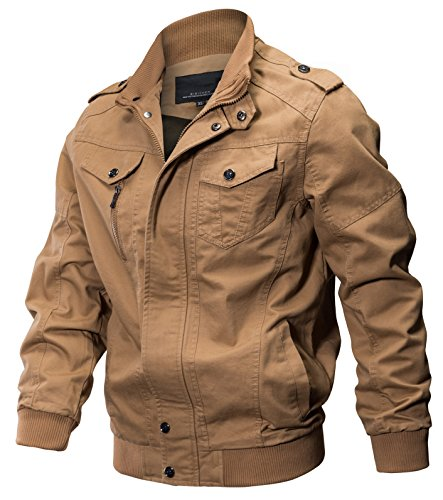 WULFUL Men's Cotton Military Jackets Casual Outdoor Coat Windbreaker Jacket Khaki M - Mens Khaki Windbreaker
