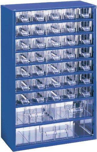 Kleinteilemagazin METALL BLAU 35+2+1 Schubladen + 20 Trennstege, Profiqualitä t, 460 x 306 x 155 mm HuW