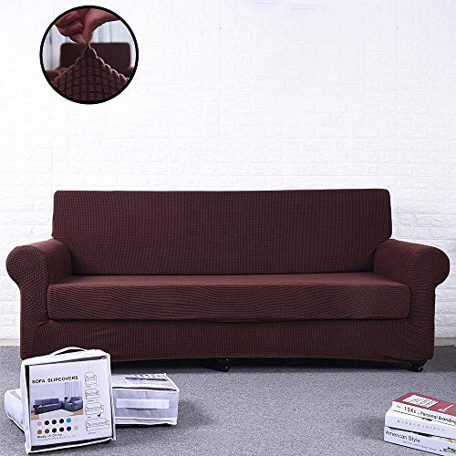 (iisutas Spandex Fabric Stretch Couch Covers Sofa Slipcover Furniture Protector for 4 Cushion Couch, Coffee)