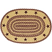 VHC Brands Classic Country Primitive Flooring - Burgundy Tan Jute Red Stenciled Stars Oval Rug, 2 x 3