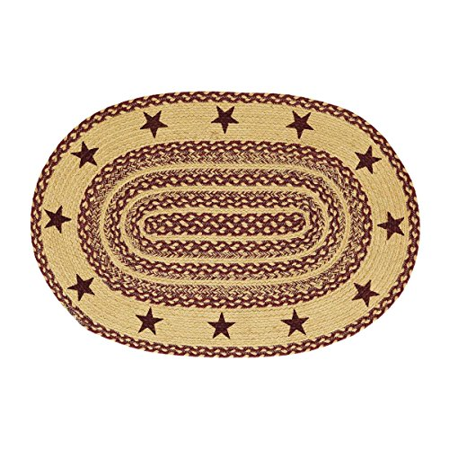 (VHC Brands 6131 Classic Country Primitive Flooring-Burgundy Tan Jute Red Stenciled Stars Oval Rug, 24 x 36)