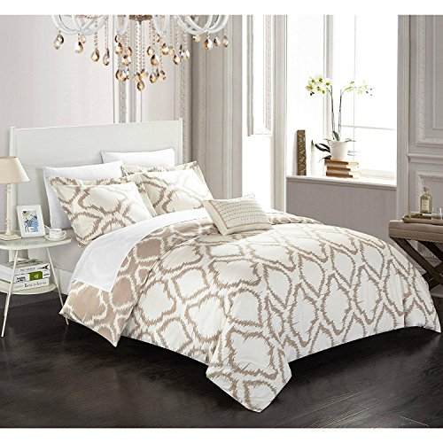 4pc Beige Geometric Queen Size Duvet Cover Set, Polyester, Microfiber, Geometrical Ikat Jacquard Pattern Bedding Diamond Classic Contemporary Theme Textured Sleek Trendy Casual