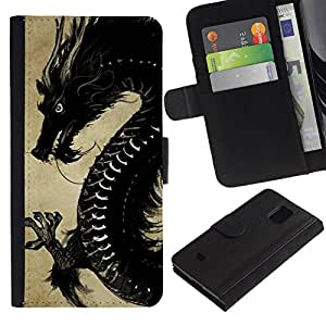 All Phone Most Case / Oferta Especial Cáscara Funda de cuero Monedero Cubierta de proteccion Caso / Wallet Case for Samsung Galaxy S5 Mini, SM-G800 // Black Chinese Dragon