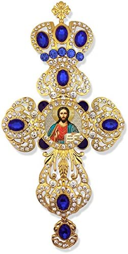 Christ The Teacher Religious Jeweled Wall Icon Cross Pendant With Crown 9 Inch