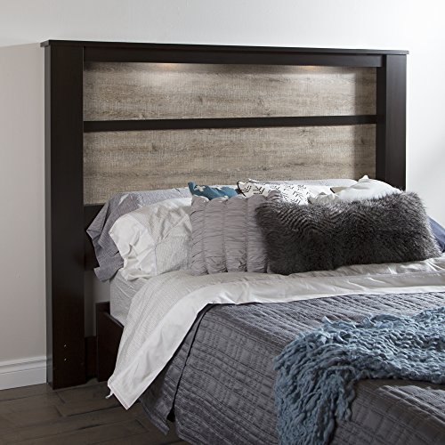 Big Save! South Shore Gloria King Headboard with Lights, 78'', Chocolate and Weathered Oak