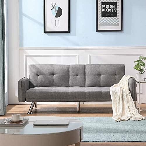 Artiron Home Futon Sofa Bed Modern Faux Linen Fabric Couch,Fabric Convertible Futon Sofa Bed 2 Cup Holders with Armrest and Fold Up Down Recliner Couch with Cup Holders,Sleeper Sofa Light Grey