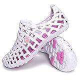 Violet&HS Sandals & Beach Shoes Big Size Breathable Hollow Out Pure Color Flat Casu White Pink US 10.5