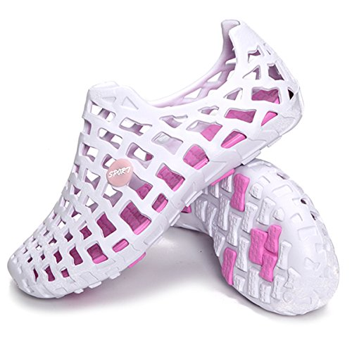 Violet&HS Sandals & Beach Shoes Big Size Breathable Hollow Out Pure Color Flat Casu White Pink US 10.5