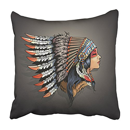 Emvency Decorative Throw Pillow Covers Cases Woman American Indian Girl in National Headdress Native Cherokee Face Aboriginal America Apache 20X20 Inches Pillowcases Case Cover Cushion Two Sided