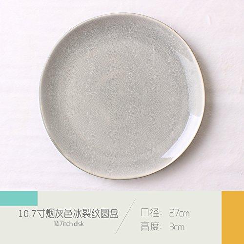 External simple ceramic plate Western burdock salad fruit plate hotel restaurant coffee shop tableware smoke gray 27x3cm