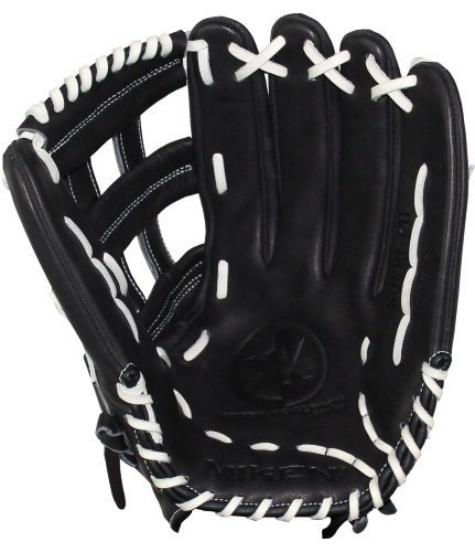Miken KO Series Slowpitch Throw Fielding Gloves, 13.5-Inch, Black, Left Hand(Right Hand Throw)