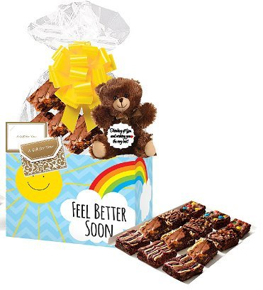 Feel Better Soon Gourmet Food Gift Basket Chocolate Brownie Variety Gift Pack Box (Individually Wrapped) 12pack