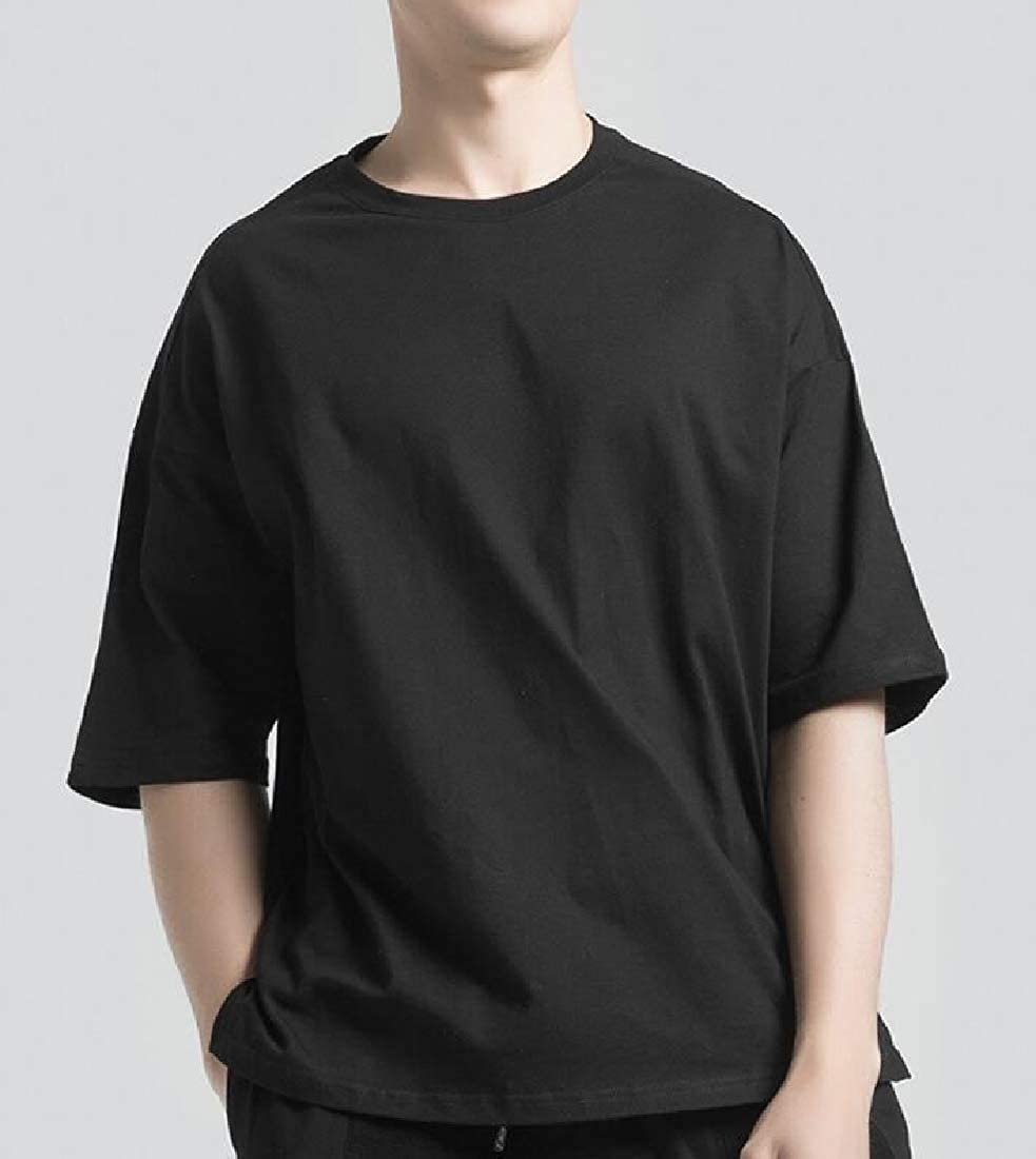 Conffetti Mens Solid Oversized Round Neck Short Sleeve Pullover T-Shirt Top
