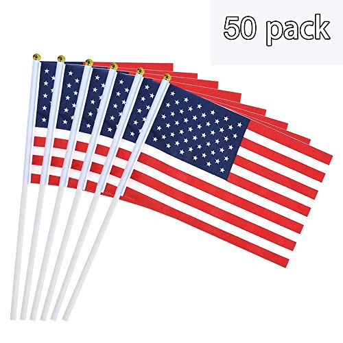 YSJ USA Stick Flag American Flag Stick, US Flag Stick Stick Flag with Ball Tip American Flag on Stick Handheld Stick Flags for 4th July, 50 Pack