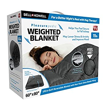 Image of Bell+Howell Weighted Blanket 80 x 60 King-Sized Version, Ultra Soft and Plush to The Touch with Non-Toxic Glass Beads 15 pounds (Grey) Bell%2BHowell B07QC44V8F Weighted Blankets