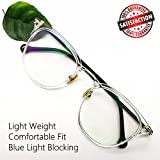 Non Prescription Computer Glasses Blue Light Blocking Retro Round Eyeglasses Frames for Women Men