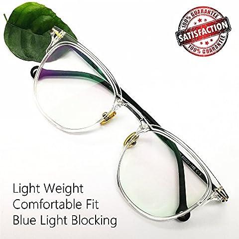 Non Prescription Computer Glasses Blue Light Blocking Retro Round Eyeglasses Frames for Women Men - Eyeglasses Light Blue Frame