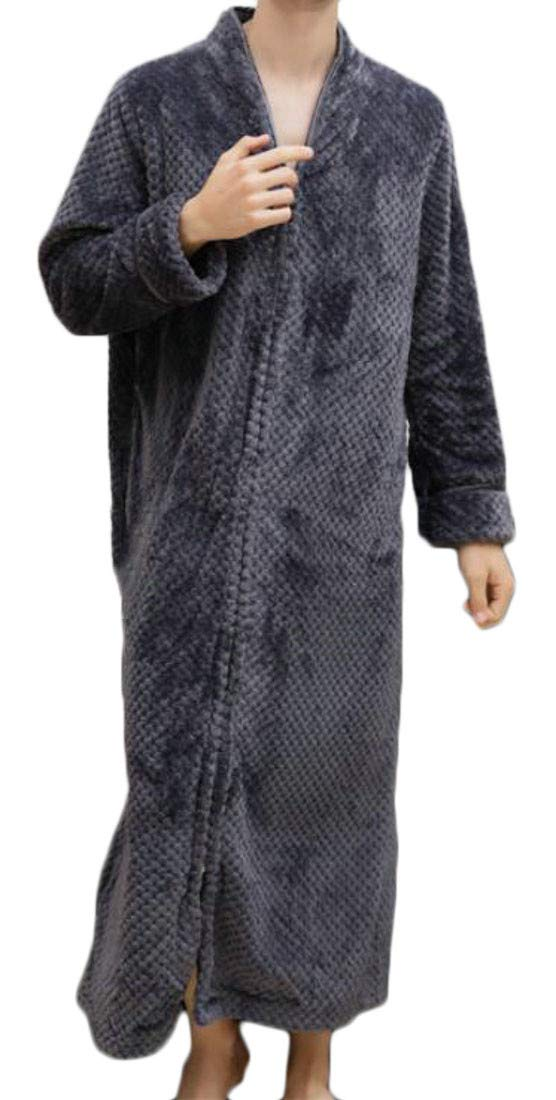 Cromoncent Men Autumn Winter Big and Tall Flannel Zipper Homewear Bathrobe Robe Grey XL