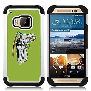 BullDog Case - FOR/HTC ONE M9 / - / SCYTHE DEATH FUNNY REAPER GRIM GREEN /- H??brido Heavy Duty caja del tel??fono protector din??mico - silicona suave