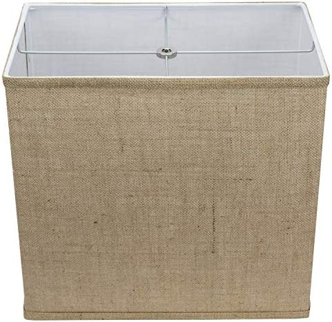 FenchelShades.com Rectangle Lamp Shade 9 x14 Top, 9 x14 Bottom, 13 Height Burlap Natural