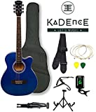 Kadence Frontier Series ,Blue Acoustic Guitar Super Combo Foldable Guitar Stand, Tuner, Capo, Bag, Strap, Strings And 3 Picks
