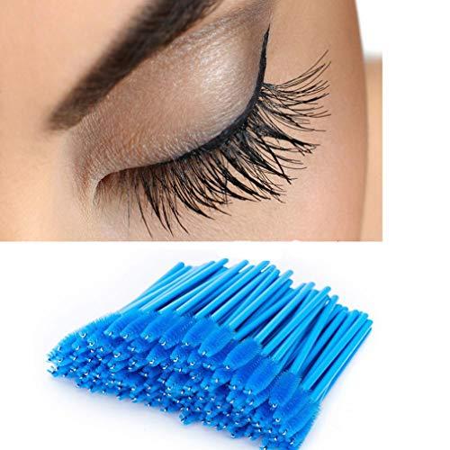 DICPOLIA Beauty 100 Pcs One-Off Eyebrow Brush, Disposable Silicone Eyelash Mascara Brushes Wands Applicator Makeup Tool Kit Set (C)