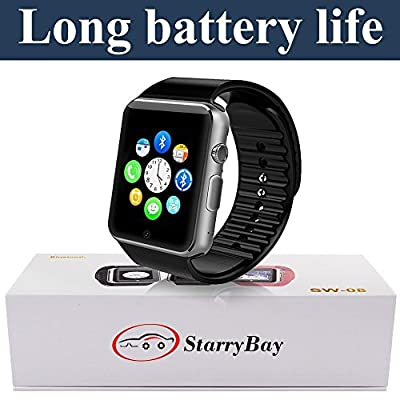Smart-watch Sweatproof Smart Watch Phone Mate with Sync/bluetooth 4.0/easy connection/send SMS and make calls/support SIM/TF for Apple Iphone 5s/6/6s and 4.2 Android SmartPhones By Starrybay (Black)