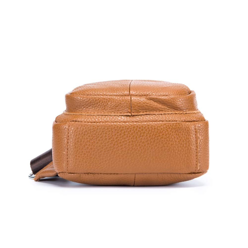 Color : Orange, Size : M Bag Outdoor Leisure Womens Chest Bag Leather Shoulder Bag Messenger Bag Front Bag 8 inch