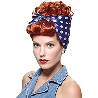 Rosie the Riveter Costume & Outfit Ideas Rosie The Riveter Red Wig With Attached Bandana Curly Updo Adult Costume $17.47 AT vintagedancer.com