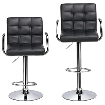 online retailer ed1c6 f9514 Yaheetech Bar Stools Set of 2 Kitchen Breakfast Bar Stools Bar Chair for  Kitchens with 41CM Stable Base