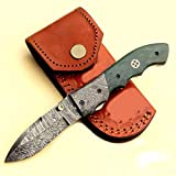 JNR TRADERS Handmade Damascus Steel Pocket Folding Knife Liner Lock with Leather Sheath vk1105