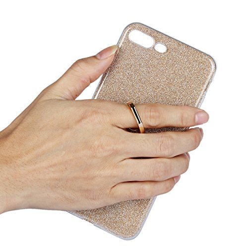 Meimeiwu Ultra Thin TPU Schutzhülle Case Hülle mit 360 Grad Rotierende Ring Ständer für iPhone 7 Plus - Gold