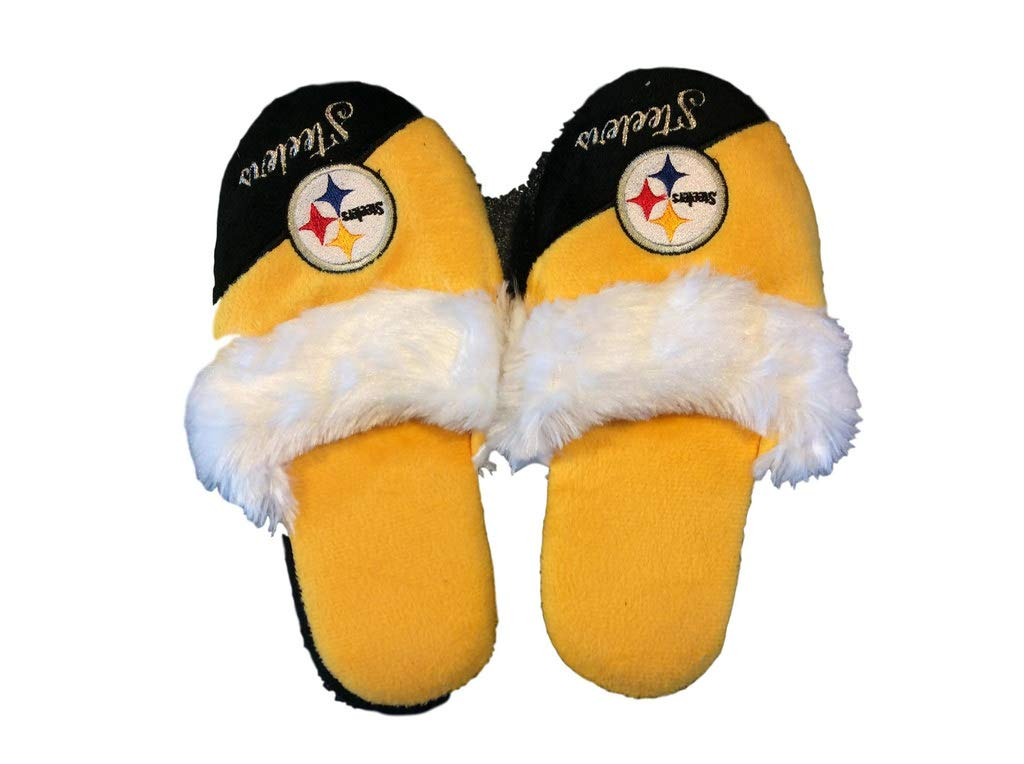 a758a96f90c1 Amazon.com   FC Pittsburgh Steelers Women s Team Logo Name Cursive  Colorblock Slipper (X-Large)   Sports   Outdoors